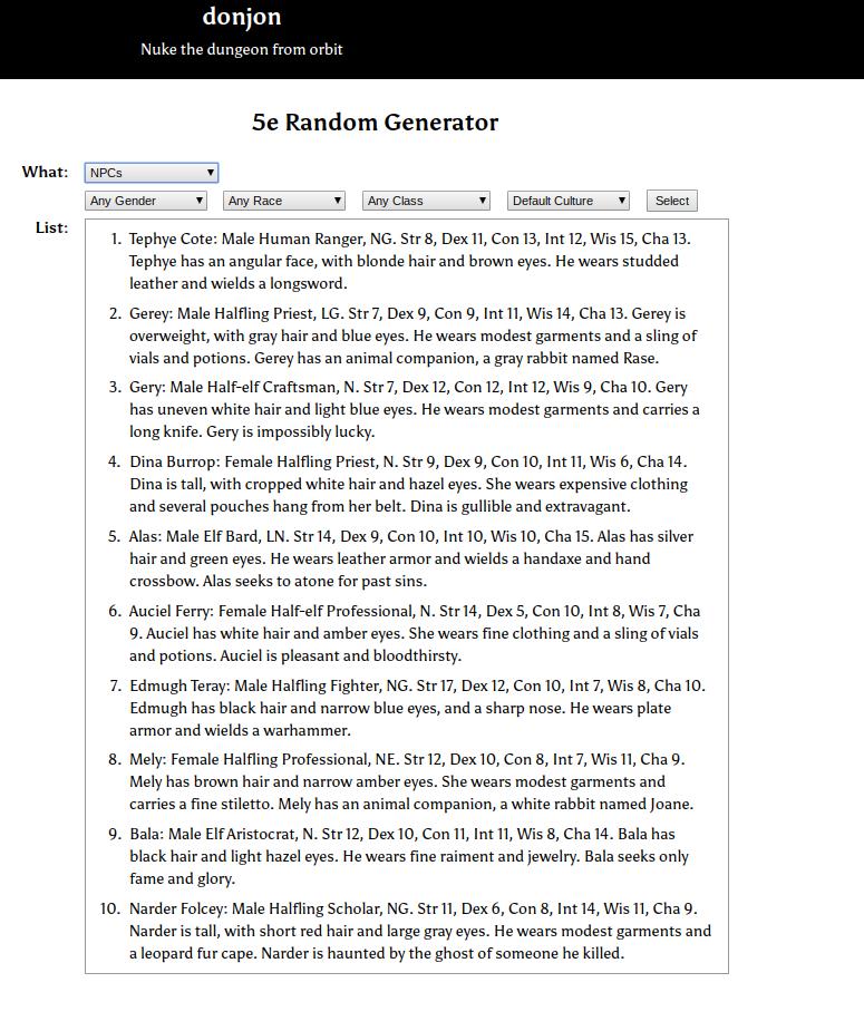 Using D&D NPC Generators 1