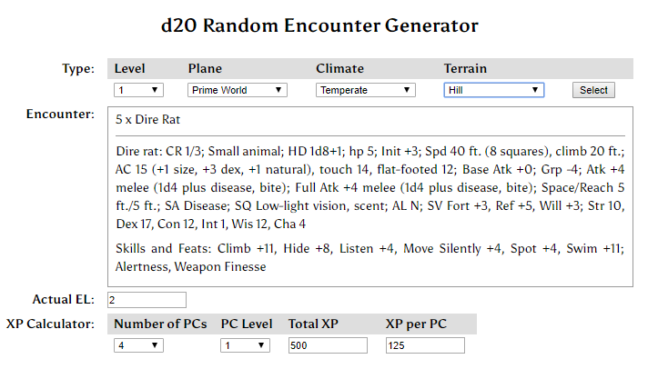 Donjon Random Encounter Generator
