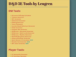 D D 5E Tools by Leugren