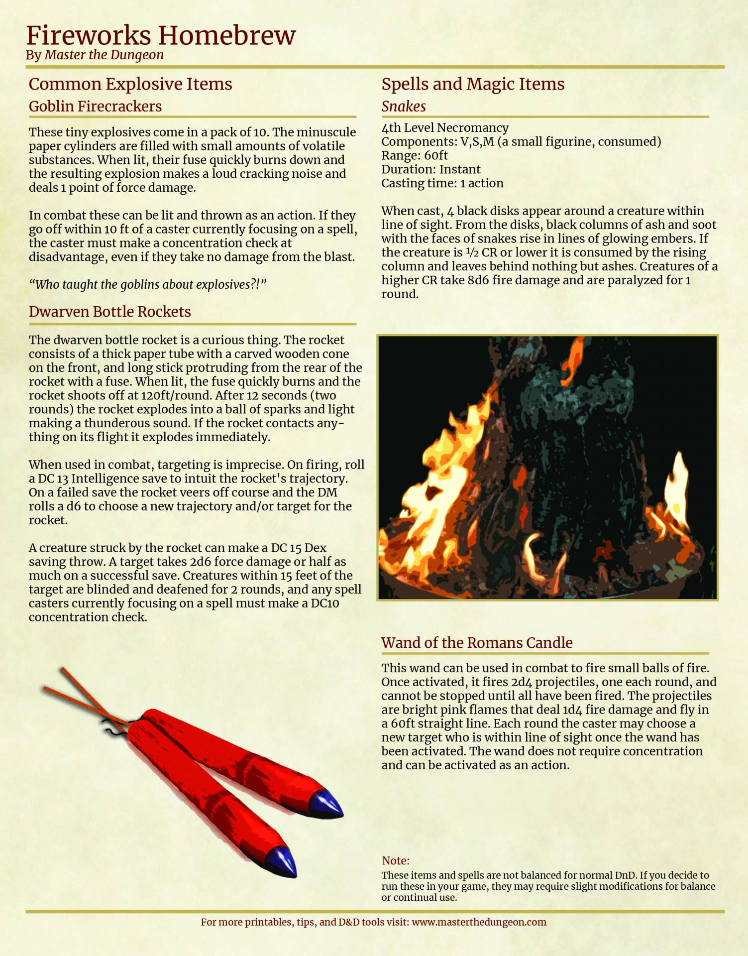 A homebrew fireworks set for 4th of july dnd inspiration
