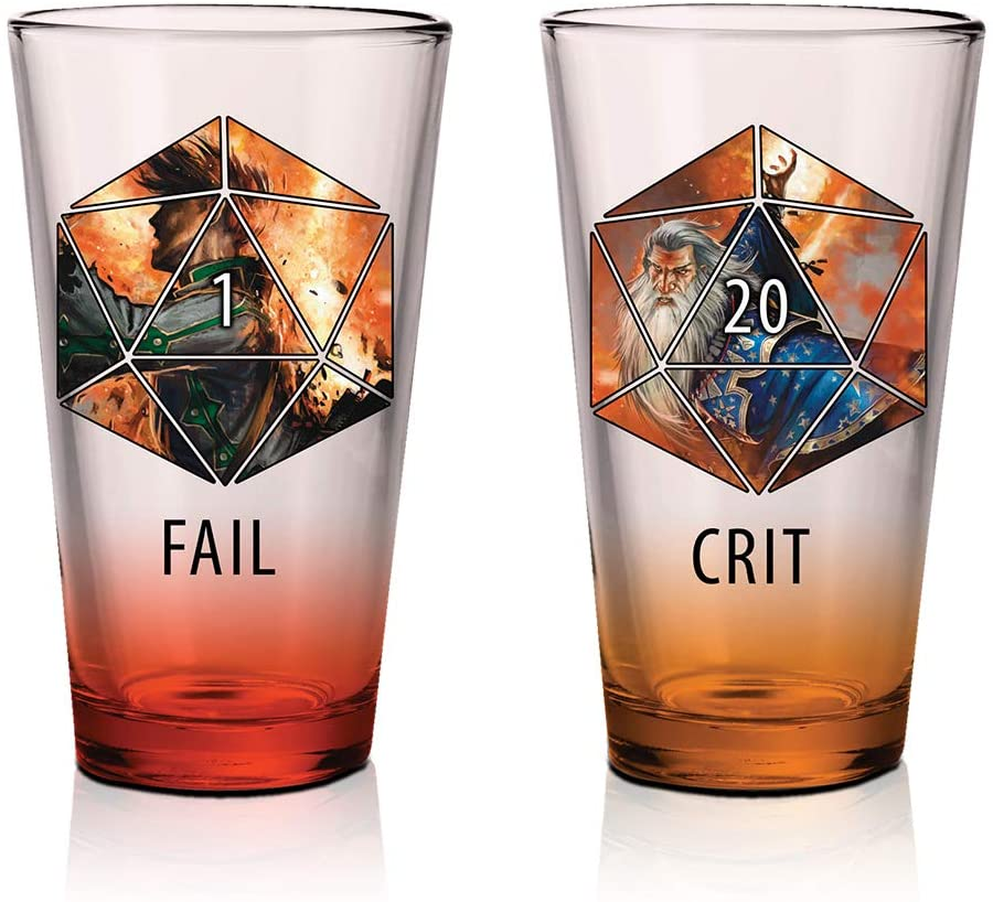 Crit and Fail 16oz pint glasses
