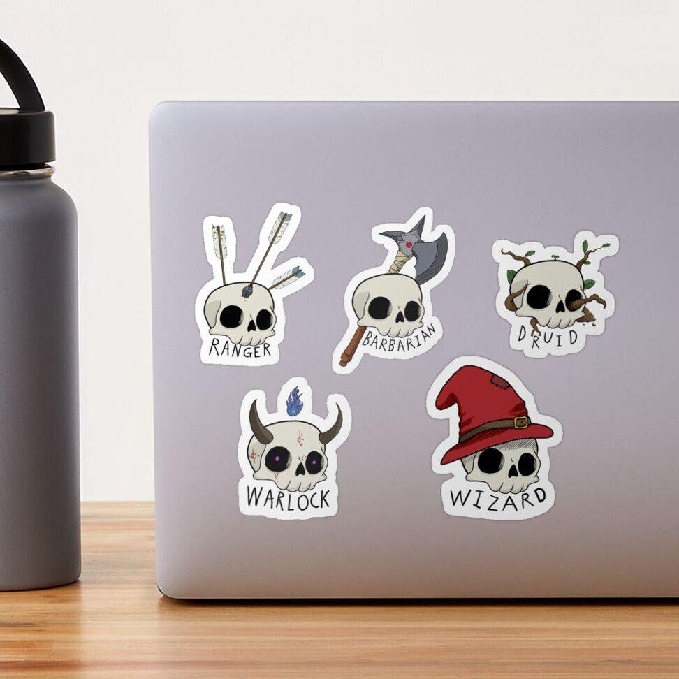 DnD Skull Class Stickers