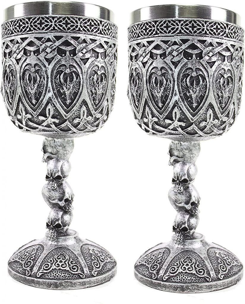 Dragon and Skull Wine Goblets