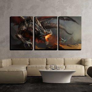 Three piece dragon fight wall art