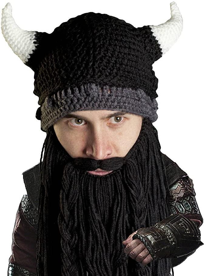 Viking Helmet Beard Knit Hat