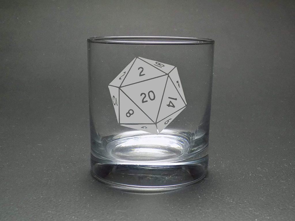 d20 rocks glass