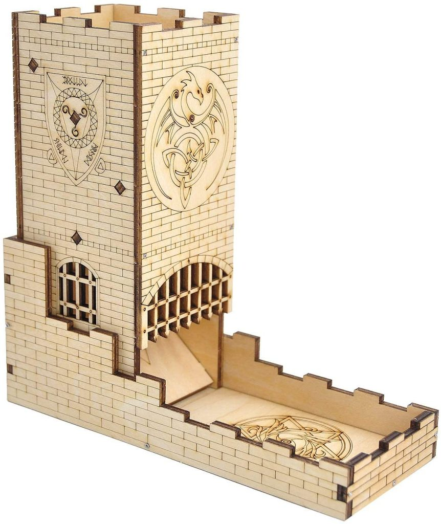 Laser cut wooden dice tower