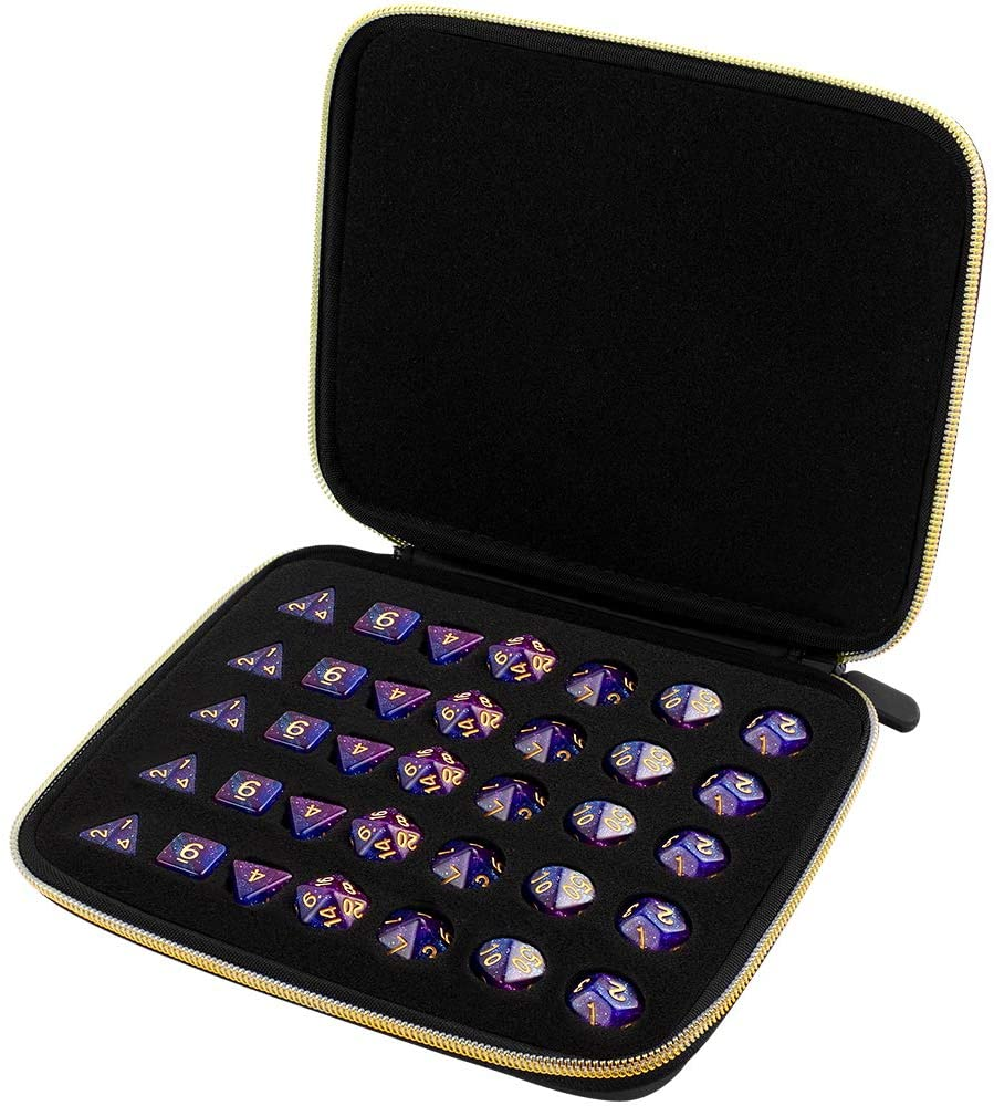 Semi-Softshell Dice Case with 5 complete dice sets