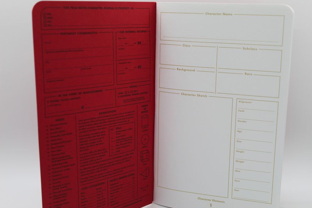Inside cover of Field Notes 5e Charcater Journal