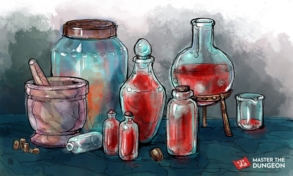 Crafting healing potions of various strengths