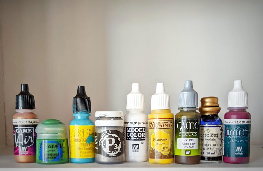 Different types of miniature paints