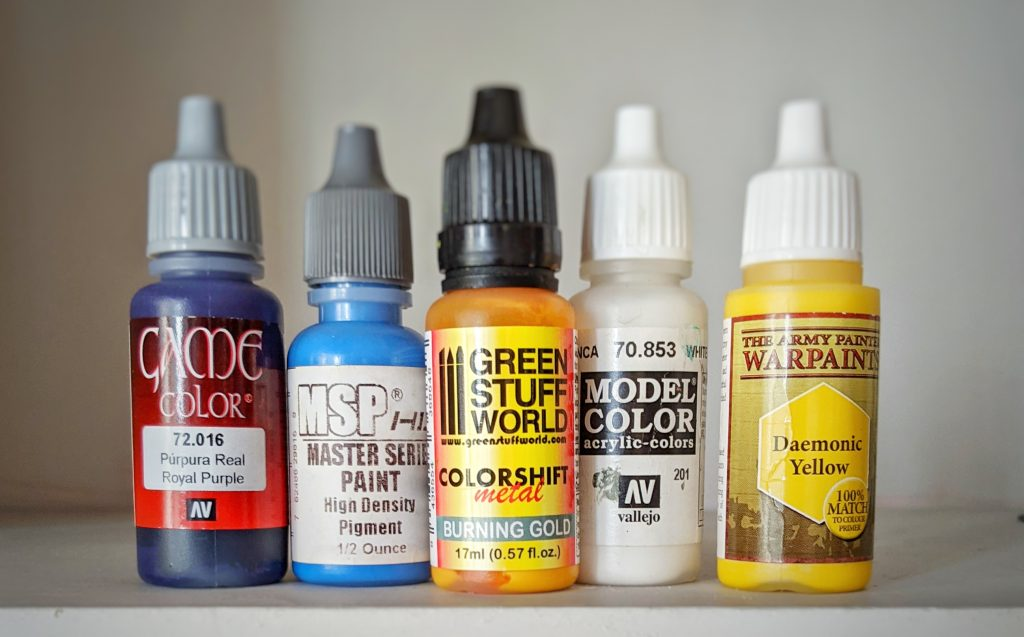 miniature paints in dropper bottles